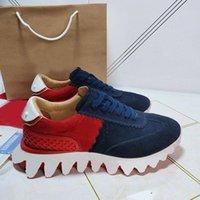 2021 Luxurys Designers Sapatos Vermelho Bottom Plate-Forma Low Cut Spikes Flats para homens mulheres sapatilhas de couro sapato casual