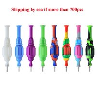 Hookah Colorful Silicone Nector Collector Kit With 10mm 14mm Titanium Nail Mini Glass Pipe Oil Rig Concentrate Dab Straw