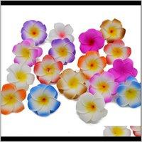 Dekorative Kränze 10 stücke Lot Plumeria Hawaiianer PE Schaum Frangipani Künstliche Blume Kopfschmuck Eier Blumen Hochzeit Dekoration Party SUP J375F