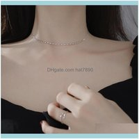Chains Necklaces & Pendants Jewelrys925 Sier Necklace Fashion Exquisite Korean Style Design Simple Oval Lotus Root Bracelet Anklet Jewelry F