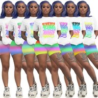 Womens sportswear Shorts outfits 2 piece set Tracksuits Fashion casual printing letter short sleeve jogging sportsuit shirt pants swe