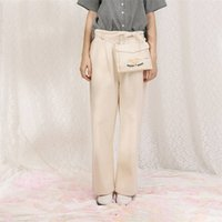 Autumn Spring Women Cotton Cargo Pants With Bag Playful Embroidery Femme Full Length Pant Capris Vintage 210515