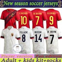 2021 2022 Bélgica Futebol Jersey Camisas Futebol Full Üniformalar Versão 21 22 Ev Uzakta Adam Çocuklar Batshuayi Carrasco Lukaku Hazard De Bruyne H.Vanaken Adultos Kiti