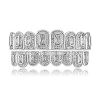 Gold Hiphop Teeth Gold Plated Bling Square CZ Diamond Hip Hop Grillz Accessories Cool Hip-Hop Tooth Jewelries
