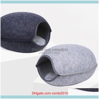 Beds Furniture Pet Supplies Home & Gardensemi-Closed Felt Bed Cave Cat Kitten House With Cushion Detachable Zipper Design Funny Breathable F