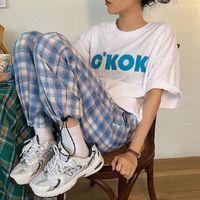 clothes pantalones siz Harajuku Simple Womens Capri Vintage Plaid Long Street Fashion Straight Wide Leg Pant sweatpants jogger