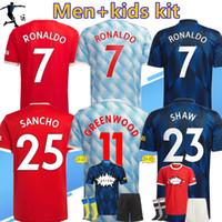 2021/2022 # 7 Ronaldo # 25 Sancho Home Red Soccer Jersey # 11 Greenwood # 18 B.Fernandes Away 21/22 # 10 Rashford # 6 Pogba # 23 Shaw Fotbollskjorta Spelare Version Män + Kids Kit Kvinnor