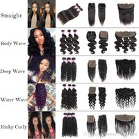 Cheap Straight 8a Brazilian Human Hair Bundles With Frontal 100 %Unprocessed Body Wave Virgin Hair Bundles With Closure Deep Wave Extensions