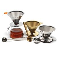 Coffee Tools Stainless Steel Reusable Tea Filters Baskets Mesh Strainer Pour Over Coffees Teas Dripper With Stand Holder