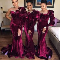Burgundy Velvet Mermaid Bridesmaid Dresses Sheer Neck Long Sleeve Sweep Train Beads Ruched Wedding Guest Party Gowns Maid of Honor Dress Customzied