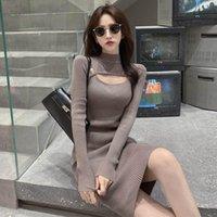 Новый дизайн женская осенью с длинным рукавом O-образным вырезом вязаный сексуальный корпусный туниковый свитер платье SMLXL