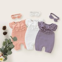 kids clothes girls Solid colors romper newborn infant ruffle Jumpsuits summer fashion baby Climbing clothing Z0297