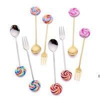 Lollipop bonito colher de aço inoxidável garfo café sorvete doces sobremesa dessert chatware bebê crianças louça de mesa utensílios ferramentas de cozinha DHB7040