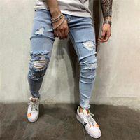 Jeans Men Slim Elastic Skinny Stretch Ripped Holes Zipper Denim Pants Streetwear Mens KG-288