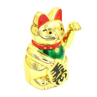 10pieces / lot 중국 행운의 고양이 부의 흔들며 고양이 흔들며 골드 손 Feng-shui 럭키 귀여운 가정 장식 환영 흔들며 고양이 도매