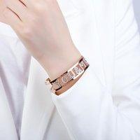 Diseño de la letra de Youme para mujer amante amigo colorido rhinestone hueco braceletsbangles joyería brazalete