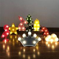 3D 만화 파인애플 / 플라밍고 / 선인장 모델링 야간 조명 LED 램프 귀여운 장식 선물