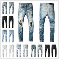 الكلاسيكية الهيب هوب الرجال جينز جودة عالية السراويل ضئيلة مستقيم السائق نحيل ثغرة ممزق 100٪ حجم القطن US28-40