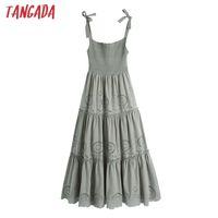 SUMER Kadınlar Vintage Nakış Midi Elbise Oymak Vintage Kolsuz Bağlantı Askıları Kadın Elbiseler Mujer Be628 210417