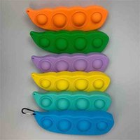 Halloween Candy Colors pea Silicone Fidget Toys Key Chain Push Poppers Bubbles Children's Decompression toy Pandents Key Rings For Bags