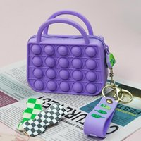 Silicon Pop Sensory Bubbles Squishy Tote Bag Keychain Purse Fidget Toy Simple Dimple Popper Focus Push Finger Toys Pressure Anxiety Stress Reliever Pendant