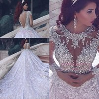 Luxury O-neck Long Sleeves Lace Ball Gown Wedding Dresses Arabic Beaded Crystals Vestidos De Noiva Wedding Gowns Robe De Mariage