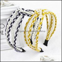 & Tools Products Plaids Hairband Women Aessories Handmade Pearls Head Band Adts Outdoor Wide Headband Hair Hoop Drop Delivery 2021 Bup2H