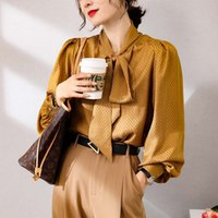 Women's Blouses & Shirts Luxo high end runway spring blouse 100% royal silk elegant bow collar flashlight office sleeve lady vintage shirts E82W
