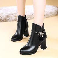 Boots 2021 Autumn And Winter Round Head High Heel Short Middle Black Fashion Korean Temperament