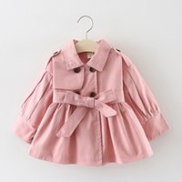 Spring Fall baby girls coat 2021 Children Pure Color Double Breasted Windbreaker Top Kids Bowknot Trench Coats S1114