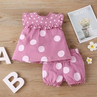 Clothing Sets #VW Fashion Summer Clothes Born Baby Girls Ruffle Dotted Printed O-Neck Sleeve Tops+Dotted Shorts Ropa Niños