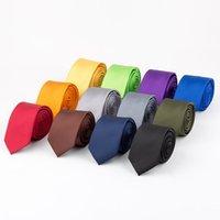 Erkeklerin Katı Renk Polyester Kravat Moda Blazer Şeker Renk Polychrome Resmi Giyim Boyun Bağları için Narrow Edition İş