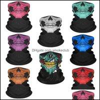 Designer Masks Housekee Organization Home & Garden3D Magic Bandanas Death Knight Pirate Scarf Skl Skeleton Ghost Ski Cycling Headwear Headba