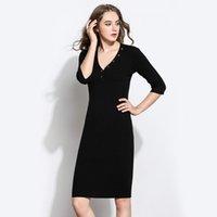 Vestido de otoño e invierno de la cintura de invierno en la falda de un paso, 3 4 manga de punto en el mismo vestido de lana