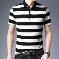 2021 Новые летние короткие рукава негабаритные Корея мода полосатый свободные рубашки поло стройную одежду хип-хоп Punk мужские верхние тройники одежда MWZB
