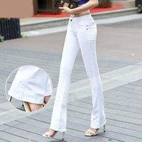 Qbkdpu Plus Размер цветные женские джинсы брюки вспышки середины брюки черно-белый колокол Нижний Сексуальный партийный клуб Pantalones Para