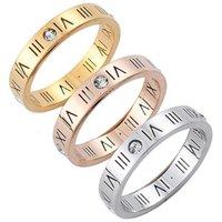 뜨거운 판매 제이테늄 강철 로마 디지털 링 기분 간단한 18K 골드 패션 애호가 보석