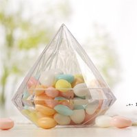 Diamantform Candy Box Geschenk Wrap Hochzeit Party Home Clear Diamonds Transparent Kunststoff Hülle Kreativität Food Grad Boxes Favor FWC7559