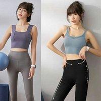 Femme Bra Bra Shirts T-shirt Sports T-shirt Push Up Gilet Fitness Running Gym T-shirts Réservoir Sous-vêtements Sexy Sous-vêtements Cami Couleur solide 12 R35T #