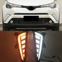 1Pair carro LED Drl Luz de corrida diurna para TOYOTA C-HR CHR 2016 2017 2019 2019 com Dynamic Yellow Turn Light Signy Lamp