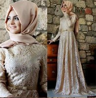 Muslim Evening Dresses A-line Long Sleeves Mint Green Lace Hijab Islamic Dubai Abaya Kaftan Long Prom Gowns