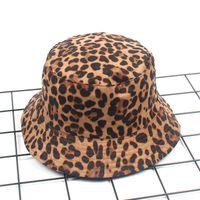 Wide Brim Hats Giyu Suede Leopard Print Casual Bucket For Women Outdoor Fashion Flat Sun Basin Caps Ladies Double-sided Fisherman Hat