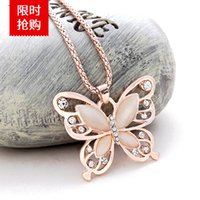 Heiße koreanische 18k rose gold plattierte pullover kette anhänger halskette glücklicher kristall schmetterling langkette halskette tier anhänger 1147 q2