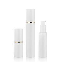Branco frasco de spray sem ar com névoa fina Pulverizador linha de ouro 15 30 50ml frascos de viagem de vácuo recipiente recarregável claro para perfume, toners, água calmante