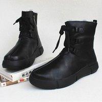 Womens Stiefel Winter Schneeschuhe 100% Echtes Leder Fleece Frau Knöchelstiefel Lace Up Platform Rutschfeste Weibliche Schuhe V4CT #