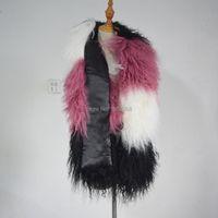 Scarves SJ505 Vacker färgstark Tibet fårpäls stal lång Kina Kvinnor Vinter Scarf