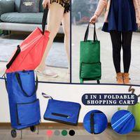 Storage Bags Portable Foldable Shopping Cart 2 In 1 Large Capacity Folding Tug
