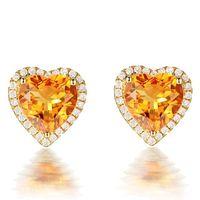 3 carati citrino pietre preziose giallo cristallo orecchini per le donne femme zircone diamante 18 carati color oro gioielli di lusso regalo cuore 210618