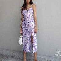 Casual Dresses Evening Party Women Elegant Dress Flower Printing Split Hem Sling Sleeveless Backless Summer For Robe Femme