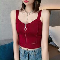 Women's Tanks & Camis 5 Colos Solid Color Crop Top Camisoles Women Zipper Knitted Sexy Tops With Hole Sleeveless For Summer